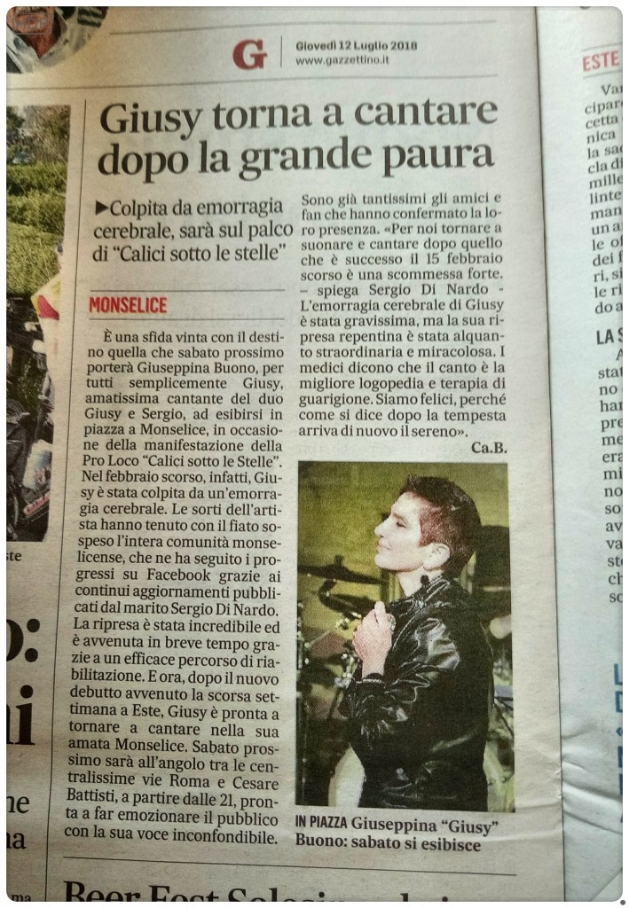 Articolo del Gazzettino di Padova - giovedi 12 Luglio 2018